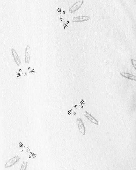 Grenouillère pour dormir et jouer avec glissière 2 sens et lapin