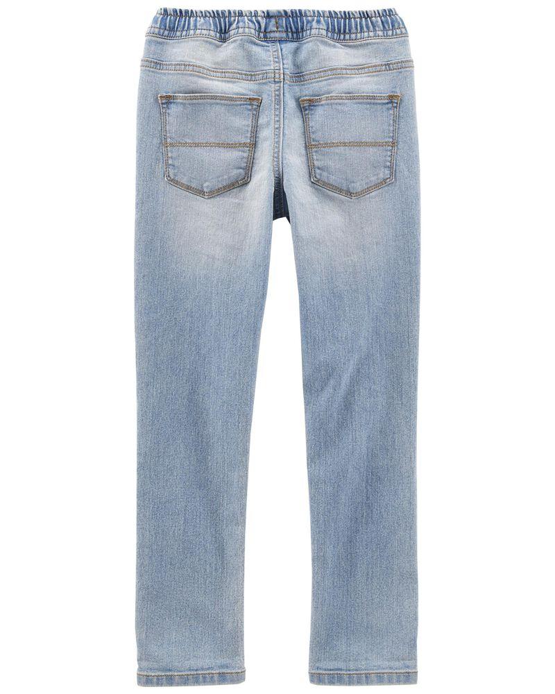 Jeans de coupe décontractée légèrement ajusté vers le bas à délavage décoloré au soleil , , hi-res