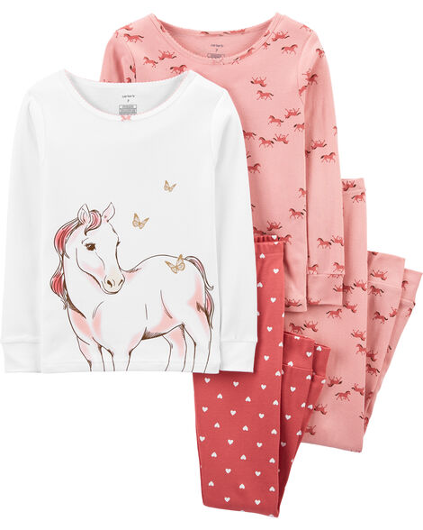 4-Piece Horse Snug Fit Cotton PJs