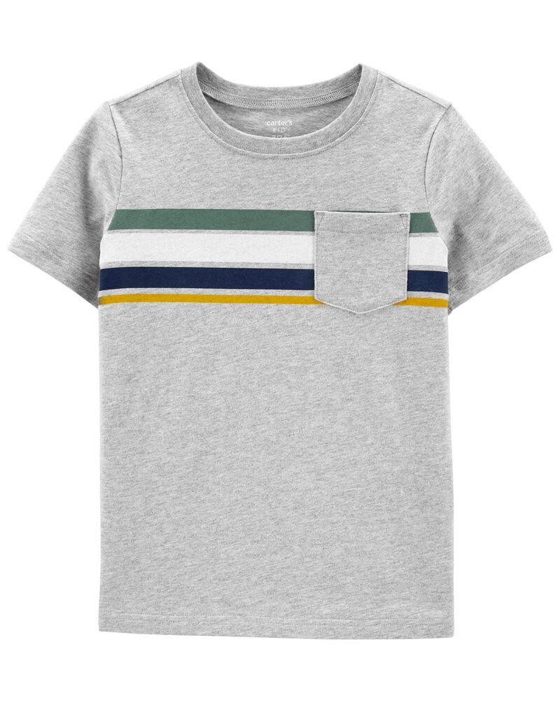 T-shirt rayé en fils chinés, , hi-res