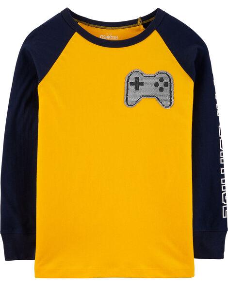 T-shirt jeu vidéo à paillettes réversibles