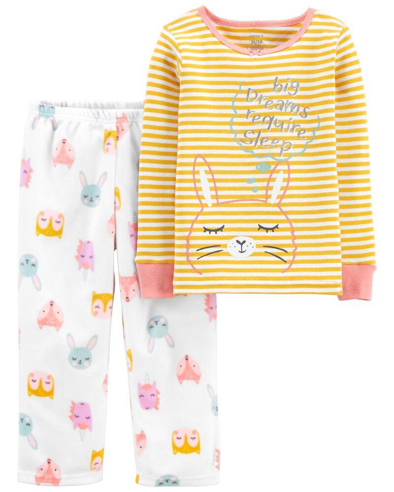 Pyjama 2 pièces en coton ajusté motif lapin, , hi-res