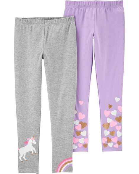 2-Pack Unicorns & Hearts Leggings