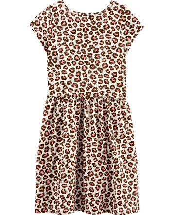Robe en jersey léopard