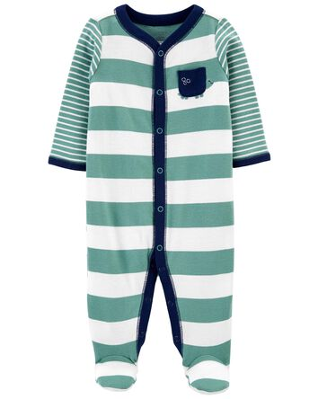 Striped Snap-Up Cotton Sleep & Play