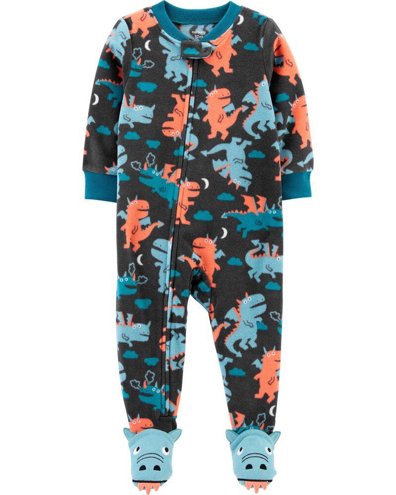 Pyjama 1 pièce à pieds en molleton motif dragon, , hi-res