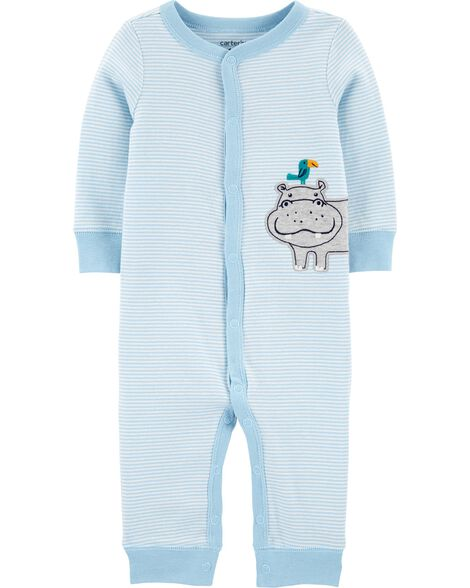 Striped Hippo Snap-Up Cotton Sleep & Play