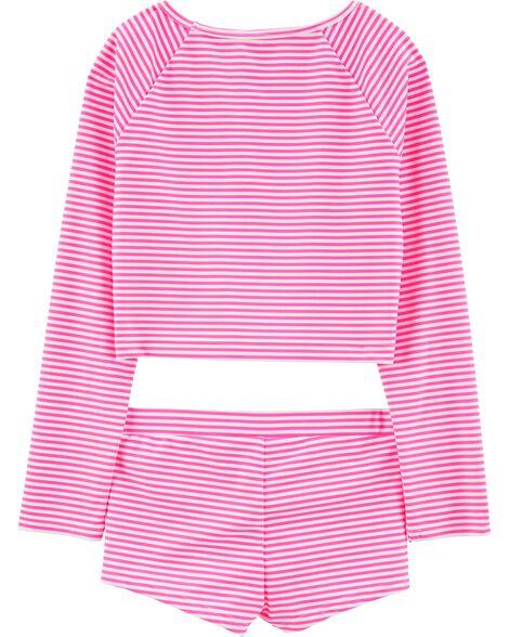 Striped Sequin 2-Piece UV Swim Shirt Set