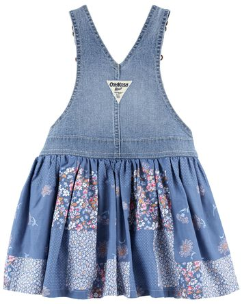 Robe chasuble en tricot de denim pa...