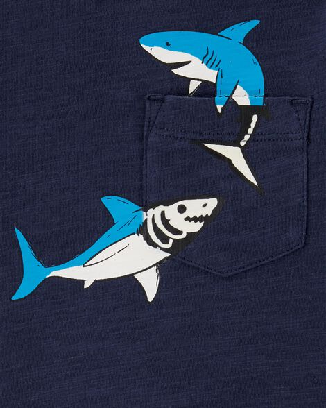 T-shirt de style superposé à poche et requin