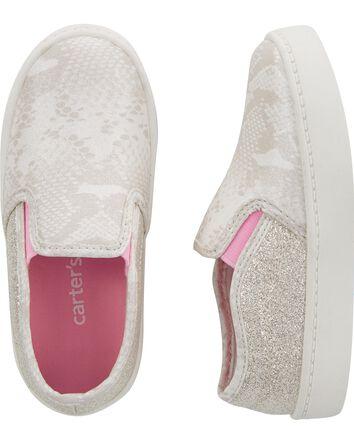 Glitter Snakeskin Platform Sneakers