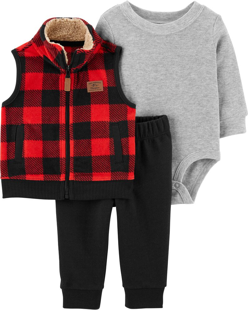 3-Piece Buffalo Check Little Vest Set, , hi-res