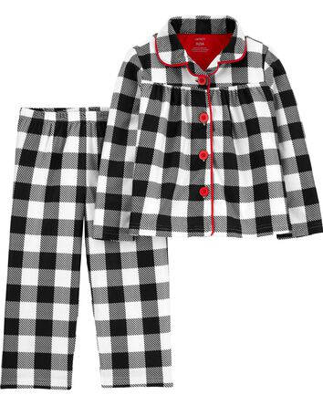 2-Piece Checkered Coat-Style Fleece...