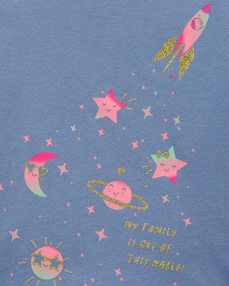 T-shirt en jersey motif espace scintillant, , hi-res