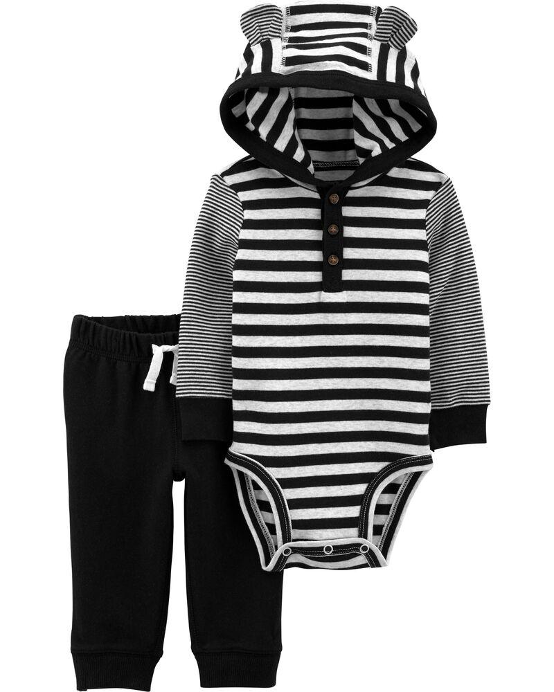 2-Piece Striped Hooded Bodysuit Pant Set, , hi-res