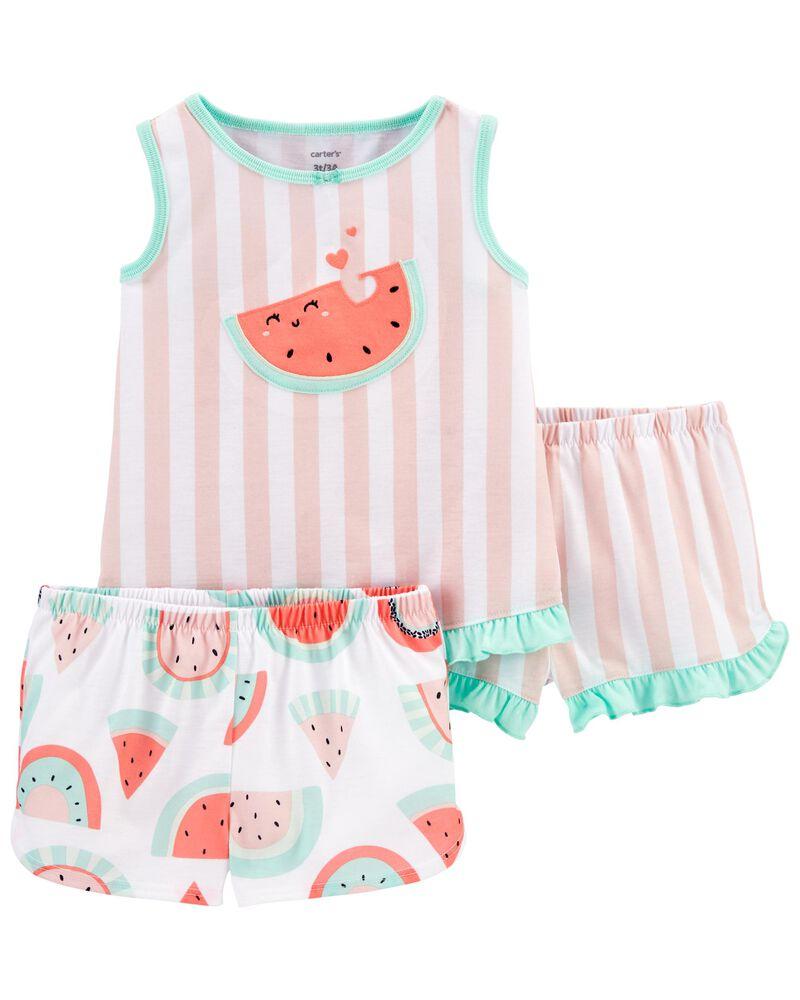 Pyjama 3 pièces de coupe ample à melon d'eau, , hi-res