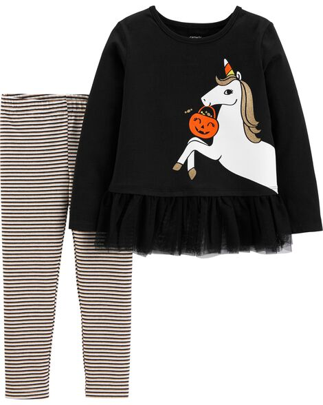 2-Piece Glow Halloween Unicorn Top & Striped Legging Set