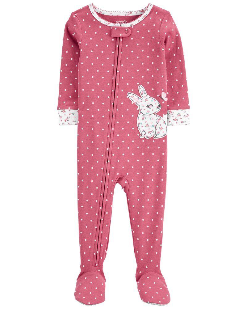1-Piece Bunny 100% Snug Fit Cotton Footie PJs, , hi-res