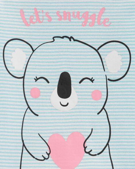 Pyjama 2 pièces en molleton et coton ajusté à motif de koala