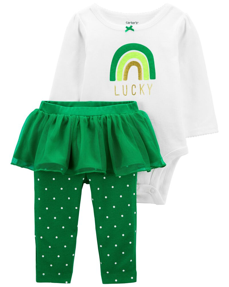 St. Patrick's Day Bodysuit & Tutu Pant Set, , hi-res