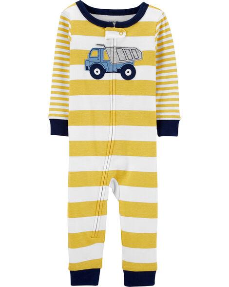 Pyjama 1 pièce sans pieds en coton ajusté motif construction
