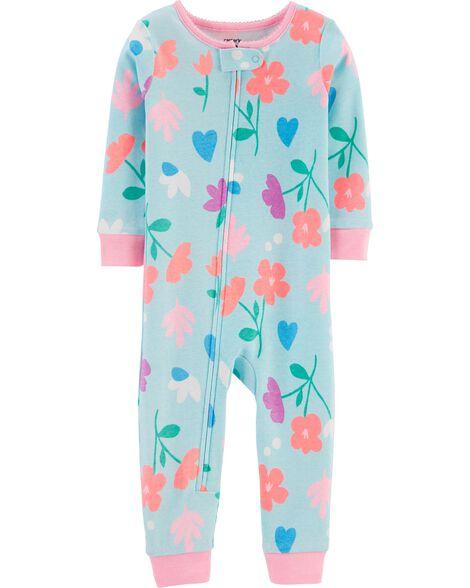 Pyjama 1 pièce sans pieds en coton ajusté fleuri