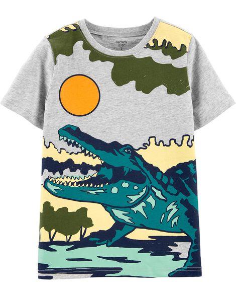 T-shirt en jersey flammé à imprimé alligator