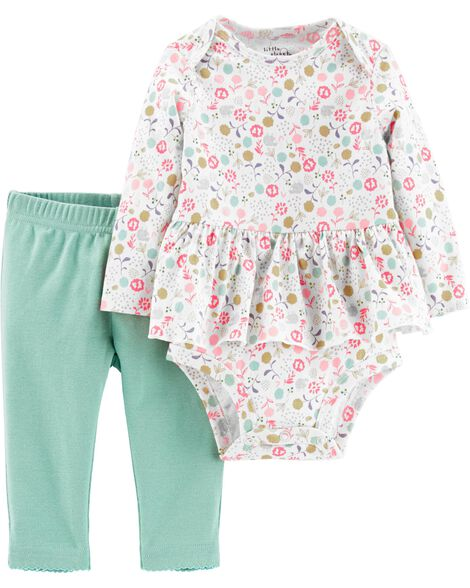 2-Piece Certified Organic Peplum Bodysuit Pant Set