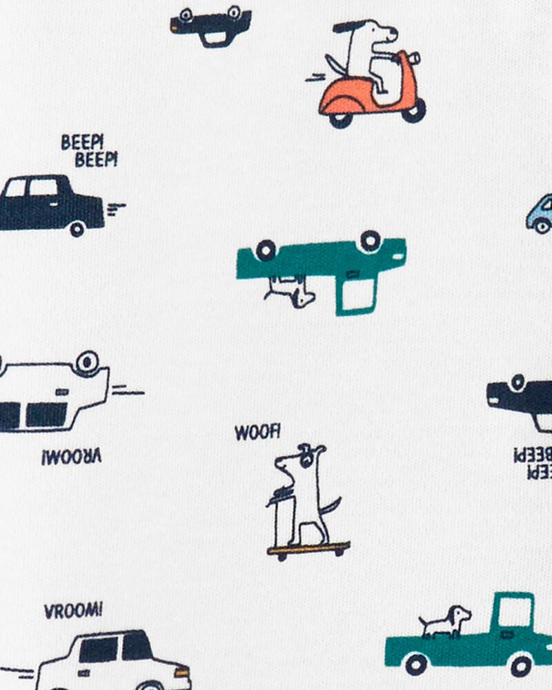 Grenouillère en coton à boutons-pression chiens et voitures, , hi-res