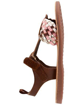 Sandales à brides tressées dorées e...