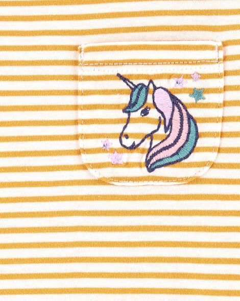 Unicorn Striped Pocket Tee