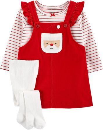3-Piece Striped Tee & Santa Jumper...