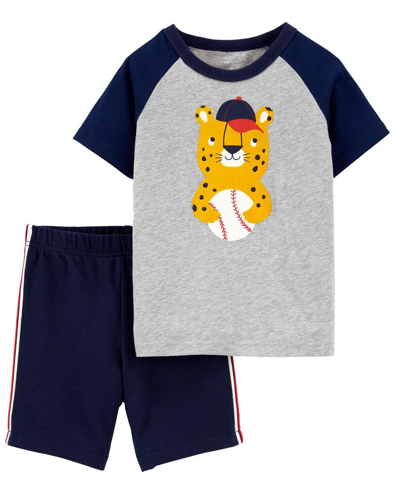 2-Piece Leopard Basketball Tee & Short Set, , hi-res
