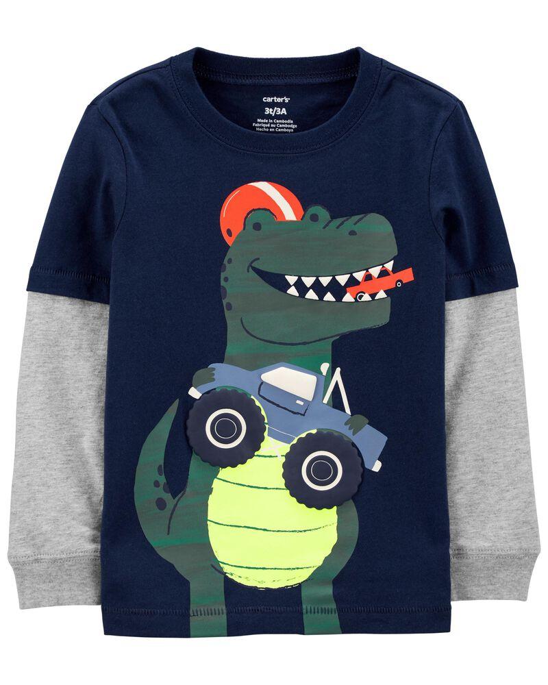 T-shirt en jersey de style superposé à dinosaure, , hi-res