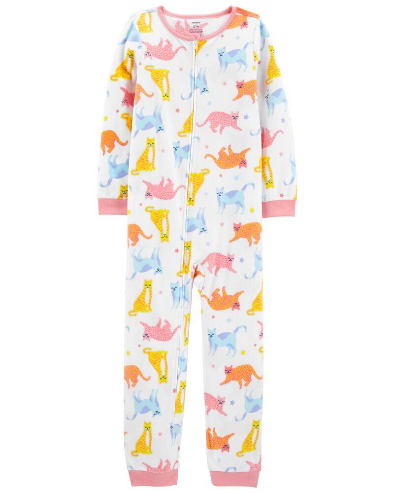 Pyjama 1 pièce sans pieds en molleton chat, , hi-res