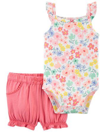 2-Piece Floral Bodysuit & Short Set