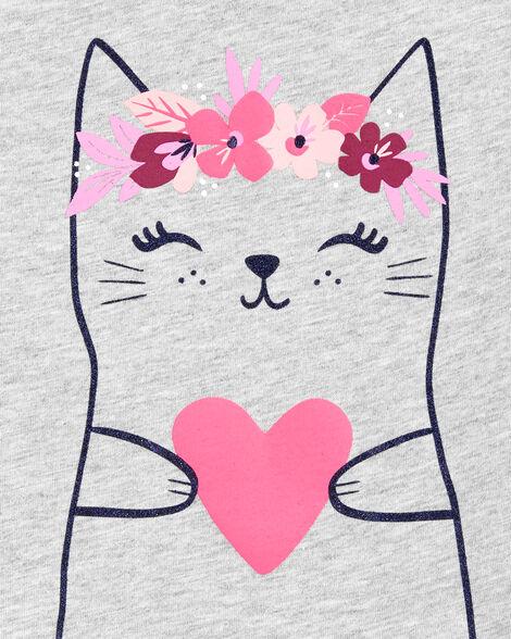 Heart Cat Peplum Jersey Tee