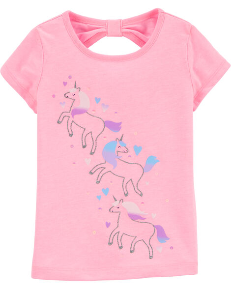 Glitter Unicorn Bow Back Jersey Tee