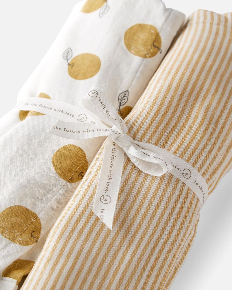 Emballage de 2 couvertures à emmailloter en mousseline de coton certifié biologique, , hi-res