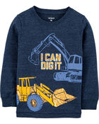 T-shirt chiné motif de construction , , hi-res