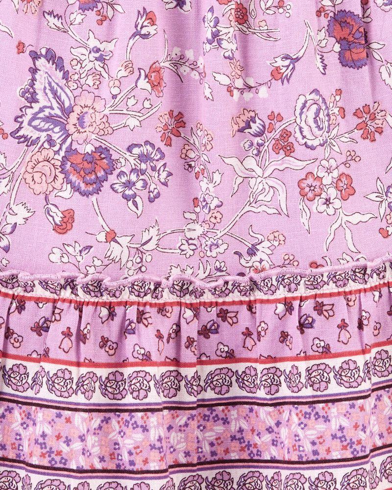 Robe en lin fleuri cachemire, , hi-res