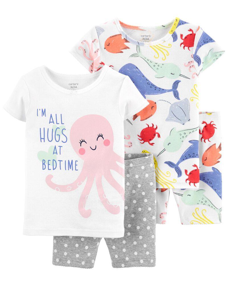 Pyjama 4 pièces en coton ajusté motif mer, , hi-res
