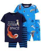 4-Piece Otter 100% Snug Fit Cotton PJs, , hi-res