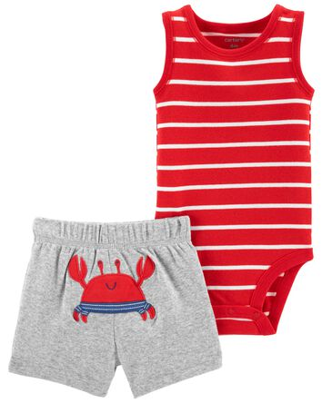 2-Piece Crab Bodysuit & Short Set