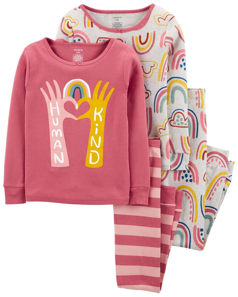 4-Piece Rainbows 100% Snug Fit Cotton PJs, , hi-res