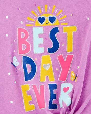 Best Day Ever Tie-Front Jersey Tee