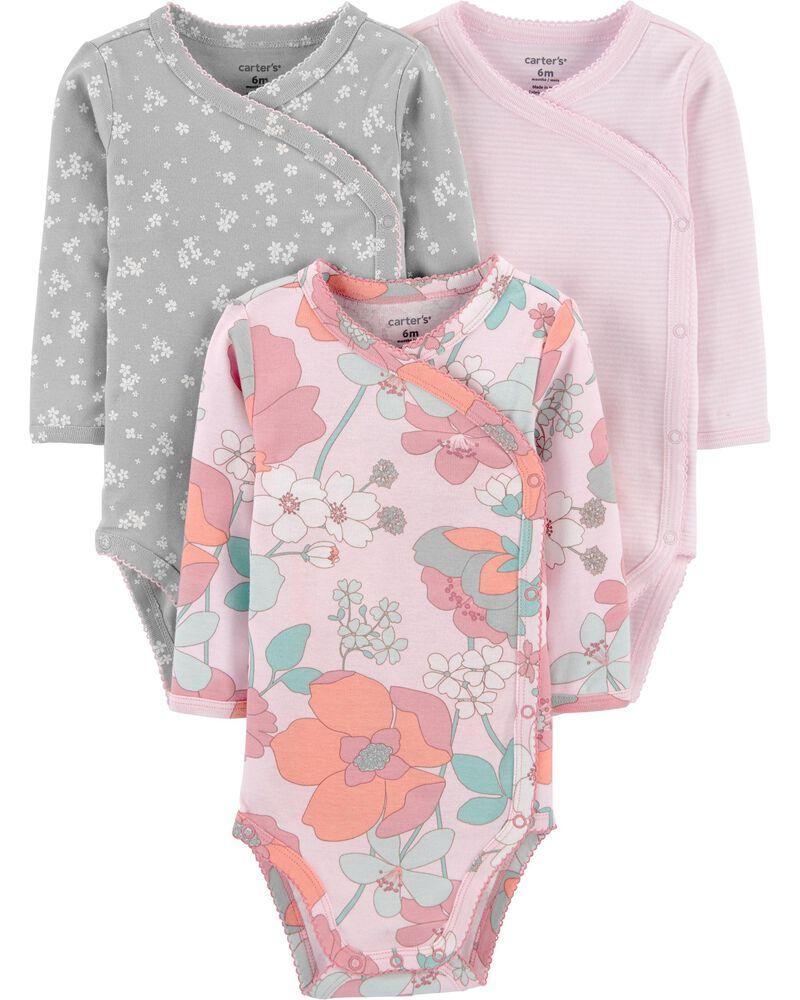 3-Pack Floral Side-Snap Bodysuits, , hi-res