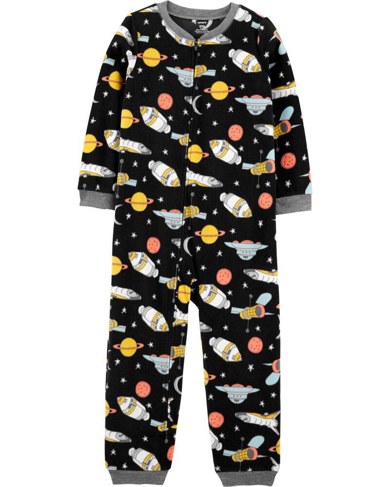 Pyjama 1 pièce en molleton sans pieds espace, , hi-res