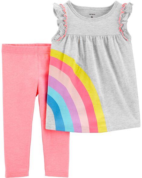 2-Piece Rainbow Jersey Top & Capri Legging Set