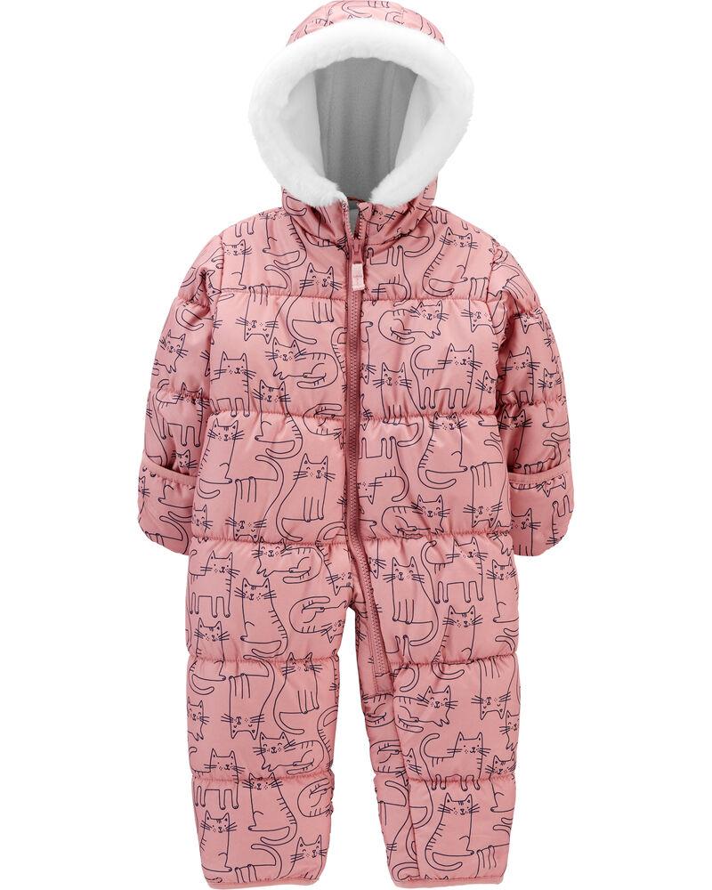 Combinaison à capuchon pour bébé à glissière et motif dinosaure, , hi-res